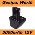 70291510061 Baterie do AKU Gesipa Accubird, Powerbird, Würth 12V 3000mAh Ni-MH neoriginální