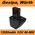 70291510061 Baterie do AKU Gesipa Accubird, Powerbird, Würth 12V 1500mAh Ni-MH neoriginální