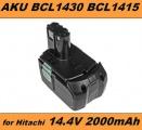 AKU Baterie Hitachi BCL1415, BCL1430, BCL 1415, 327729, 327728 14,4V 2000mAh Li-Ion neoriginální