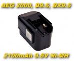 AKU Baterie B9.6, BX9.6, BXS9.6, MX9.6 pro AEG 2000, BEST 9.6X, BS2E 9.6T 2100mAh 9,6V Ni-MH