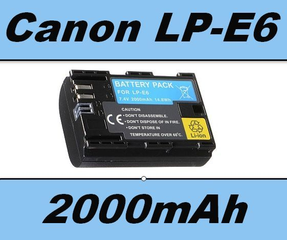 Baterie Canon LP-E6 2000mAh 7,4V Li-ion s info čipem, neoriginální