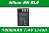 Baterie EN-EL9 pro Nikon D3000, D40, D40x, D5000, D60 1000mAh Li-Ion 7,4V neoriginální