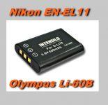 Baterie Nikon EN-EL11, Olympus Li-60B - 600 mAh