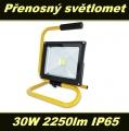 LED reflektor, světlomet 30W 2250lm IP65 venkovní přenosný + držák