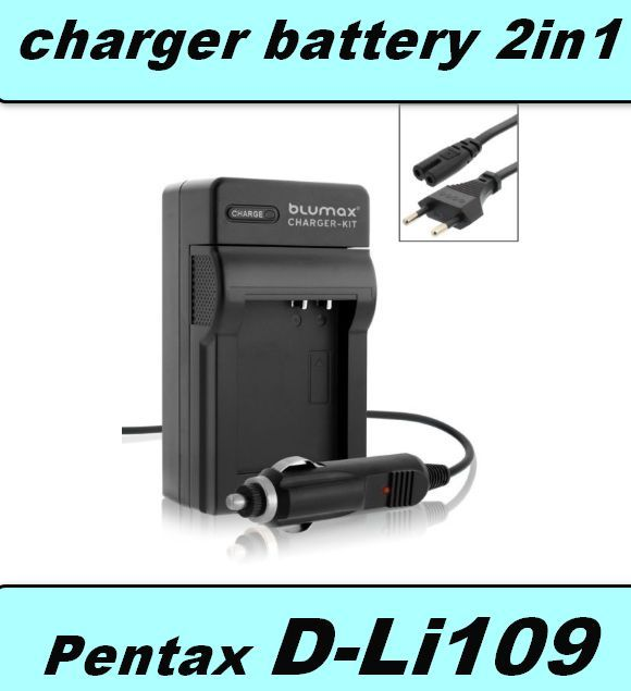 2 v 1 Nabíječka baterie Pentax D-Li109, DLi-109, DLi109  neoriginální