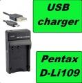 USB Nabíječka baterie Pentax D-Li109, DLi-109, DLi109 flexibilní, neoriginální