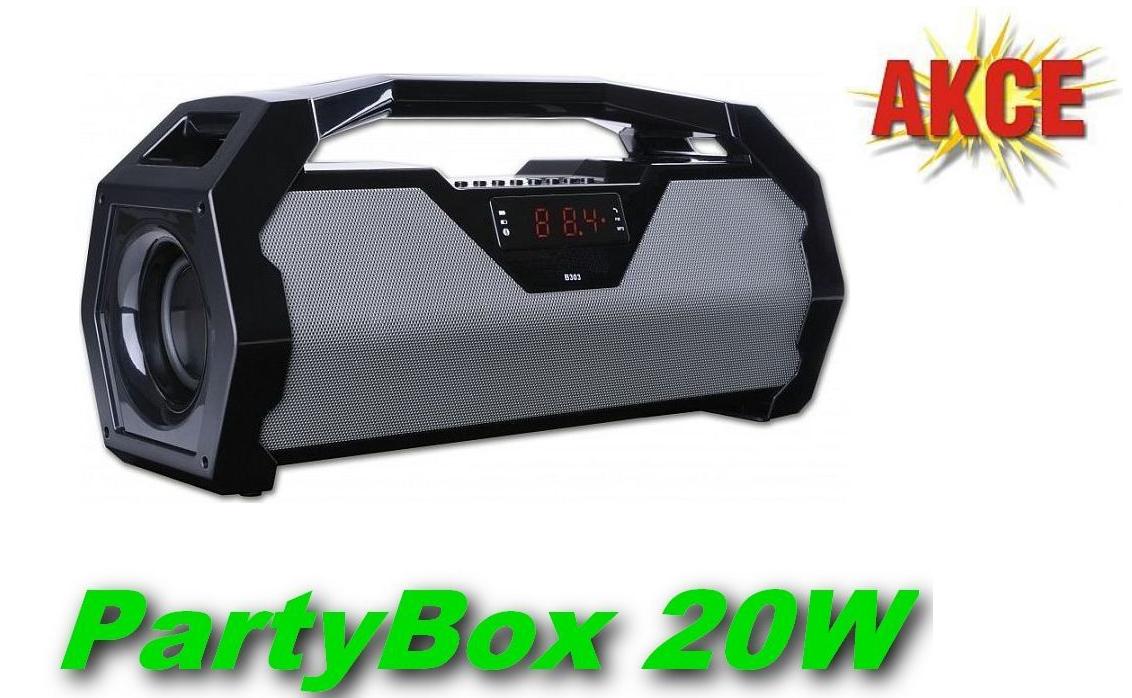 PartyBox přenosný Bluetooth reproduktor 20W, USB port, microSD slot, FM radio