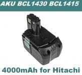 AKU Baterie Hitachi BCL1415, BCL1430, BCL 1415, 327729, 327728 14,4V 4000mAh Li-Ion neoriginální