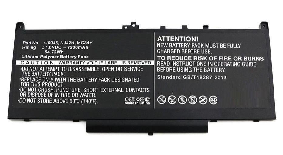 Baterie Dell J60J5, MC34Y, NJJ2H 7200mAh Li-lon 7,6V