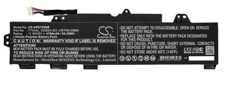 Baterie TT03XL pro HP EliteBook 850 G5 4700mAh nahrazuje ORIGINÁL