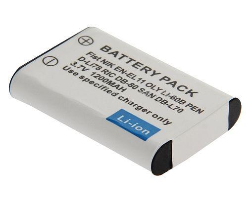 Baterie 1200mAh Nikon EN-EL11, Olympus Li-60B, Pentax D-LI78, Leica DP80, Sanyo DB-L70 TopTechnology