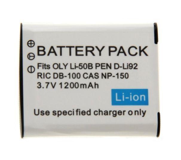 Baterie Olympus Li-50B, Pentax D-Li92, Ricoh DB-100 1200mAh Li-Ion 3,7V neoriginální
