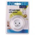Noční LED světlo se zásuvkou na 230V - 3xLED, čidlo reagující na setmění
