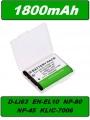 Baterie Pentax D-Li63, Nikon EN-EL10, Casio NP-80 1800mAh Li-Ion neoriginální