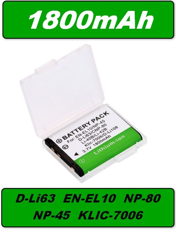 Baterie Pentax D-Li63, Nikon EN-EL10, Casio NP-80 1800mAh Li-Ion