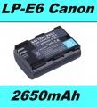 Baterie 2650mAh LP-E6 pro fotoaparát Canon s info čipem, neoriginální